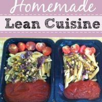 homemade lean cuisine containers with sauce, pasta and tomatoes