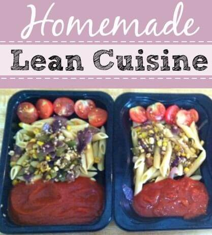 homemade lean cuisine containers with sauce, pasta and tomatoes.