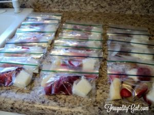 ziplock bags filled with ingredients for freezer smoothies