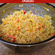 bowl of macaroni salad with chopped red peppers