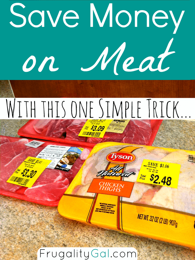 packages of meat from the grocery store with big yellow cost savings stickers on them