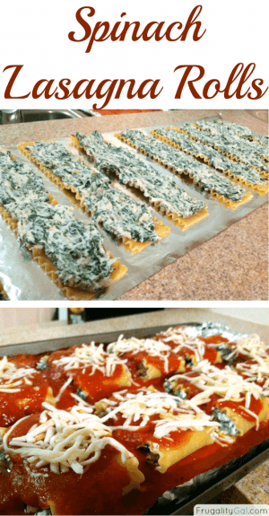 Easy spinach lasagna rolls recipe. Freezes really well! Shows cooked lasagna noodles with the spinach filling and a photo of them rolled up in a baking dish with sauce over them