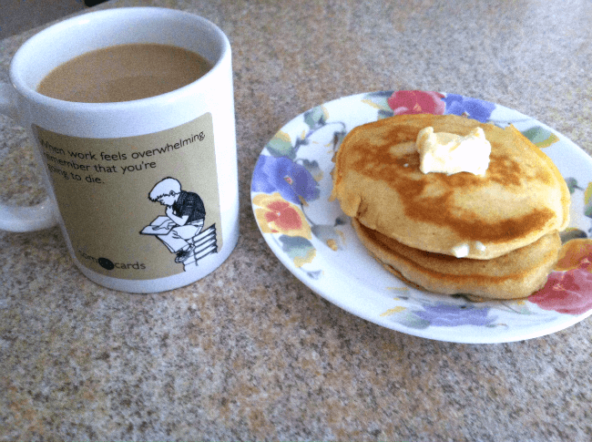 plate of freezer pancakes and a coffee