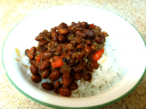 Plate with Sausage Chili and rice