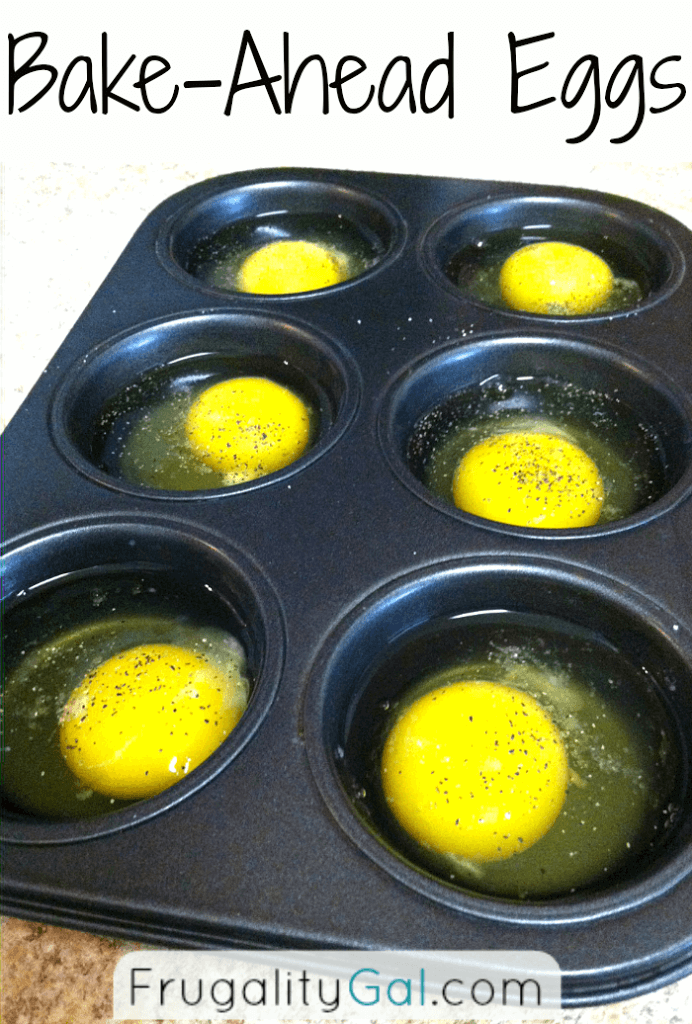 Great idea! Save time and money by baking eggs in muffin tins ahead of time. You can have breakfast for the week done in fifteen minutes!