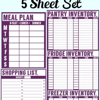 Freebie: 5 Sheet Printable Set