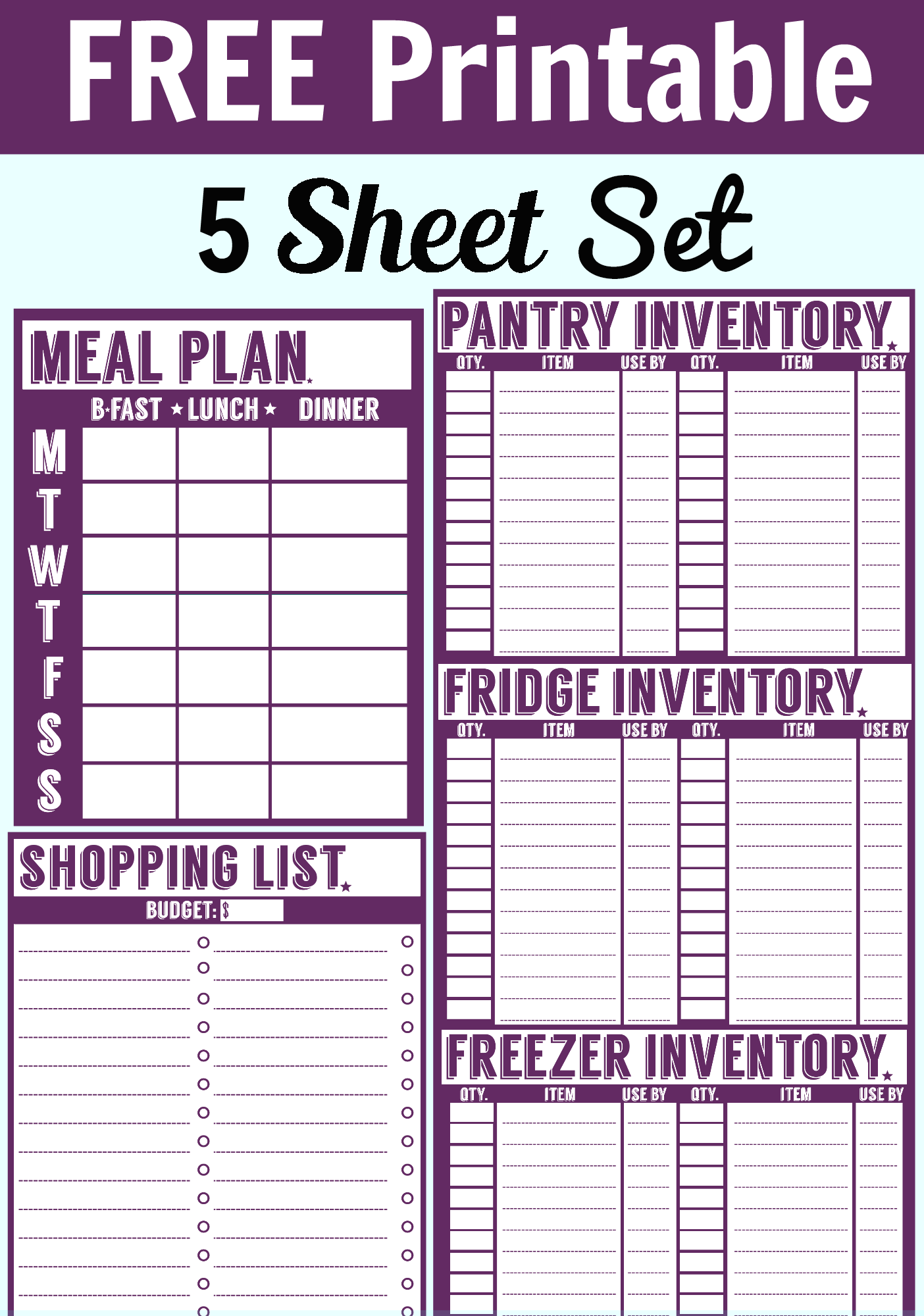 inventory sheet, freezer inventory sheet, and fridge inventory sheet ...