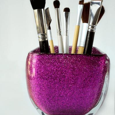 DIY Glitter Brush Organizer