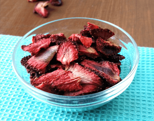 Glass Bowl with Oven Dried Strawberries