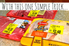 packages of discounted meat with a text box that reads how to save money on meat