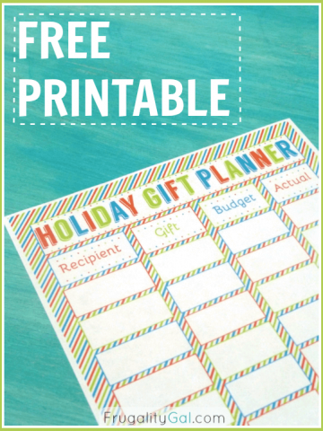 Free Printable holiday gift planner. Use this free holiday planner to organize your gift-giving and stay on budget this holiday season.