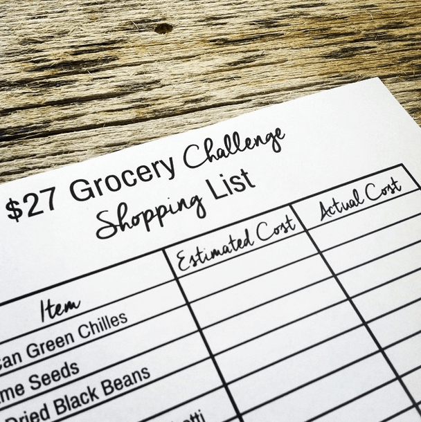 2014 $27 Grocery Budget Challenge Printable Shopping List