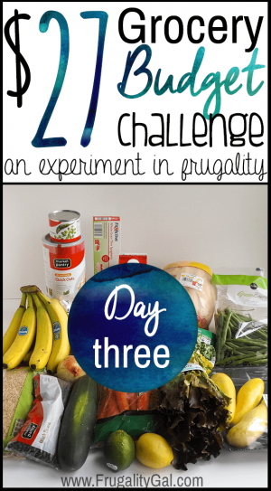$27 grocery budget challenge series. An experiment in stretching an incredibly tight grocery budget.   Day three of the seven day challenge.