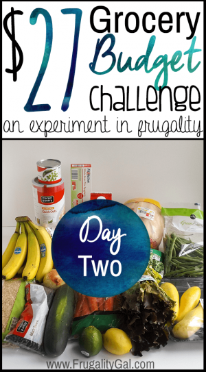 $27 grocery budget challenge series. An experiment in stretching an incredibly tight grocery budget.   Day two of the seven day challenge.
