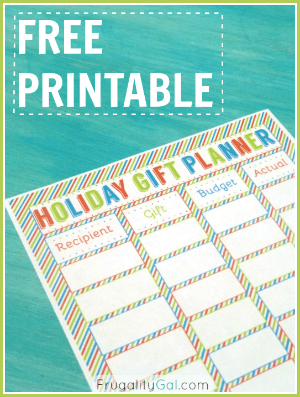 Holiday gift planner printable that helps you budget gifts and keep track of actual costs