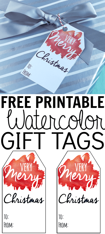 Free printable watercolor gift tags.