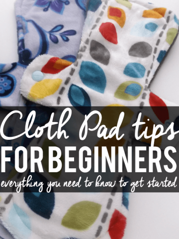 stack of colorful cloth pads for women with text overlay