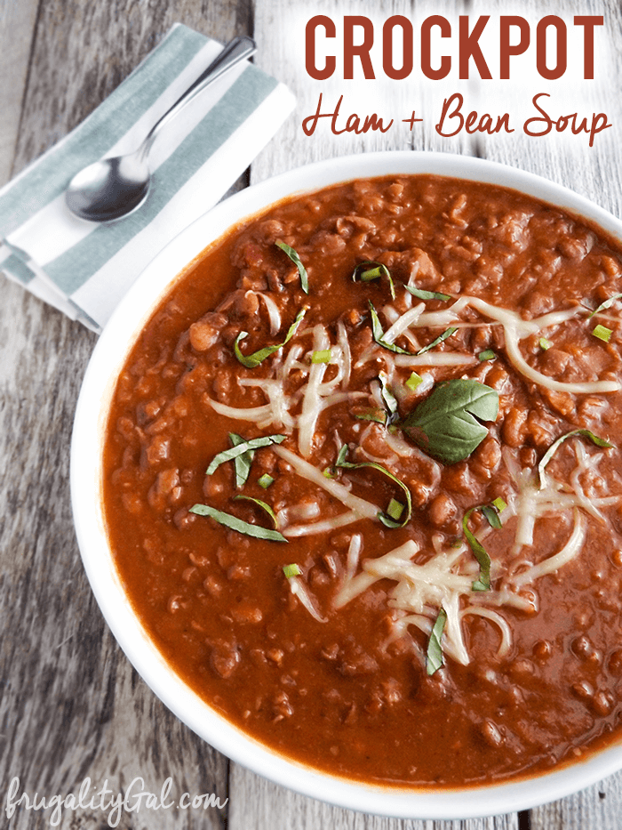 Slow Cooker Soup: An easy, frugal and comforting crockpot ham and bean soup recipe!