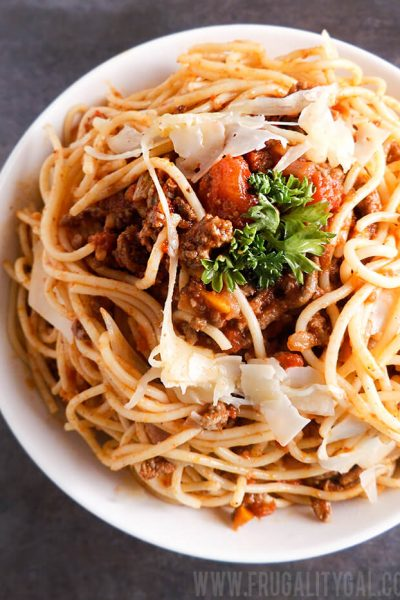 Spaghetti with Homemade Meat Sauce Recipe