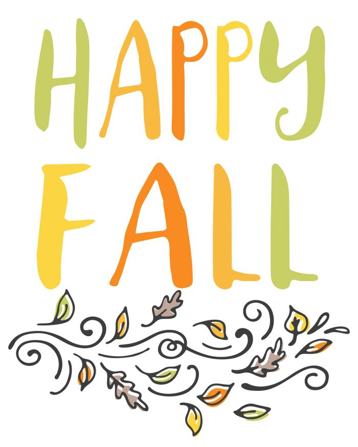 happy fall wall art with bright fall colors over whimsical leaves