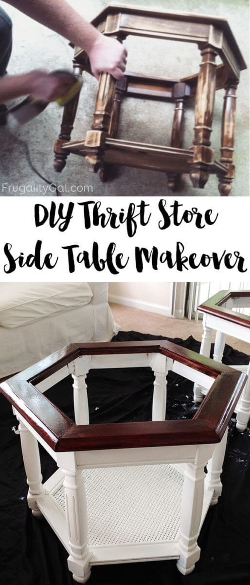 Thrift Store DIY Table Makeover - These tables cost $10 ea. at Goodwill, but were given a farmhouse makeover with a bit of paint and stain!