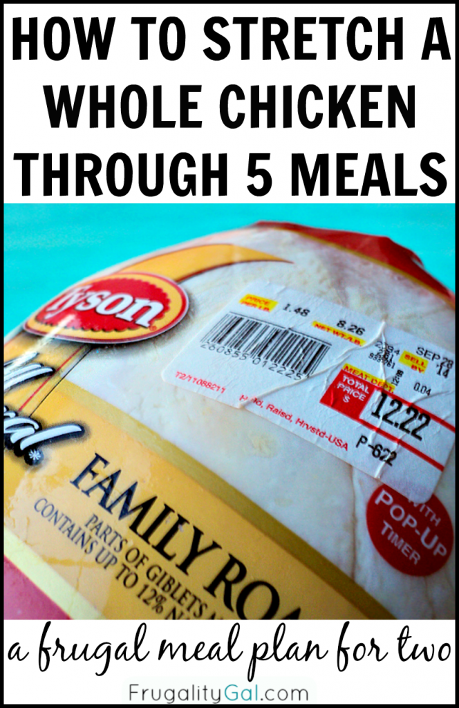 How to Stretch a whole chicken through five meals. A frugal $45 meal plan using one whole chicken!