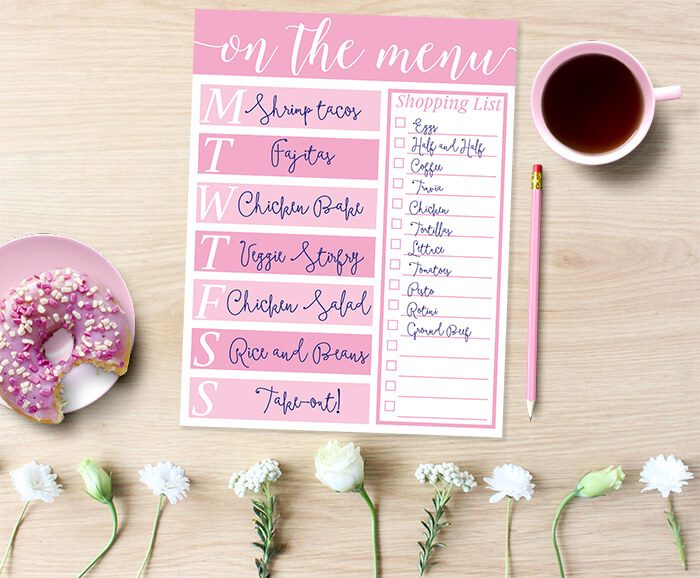 Free printable meal planner : New to meal planning on a budget? Use this free printable menu planner to keep your grocery budget on track and get organized for the week ahead!