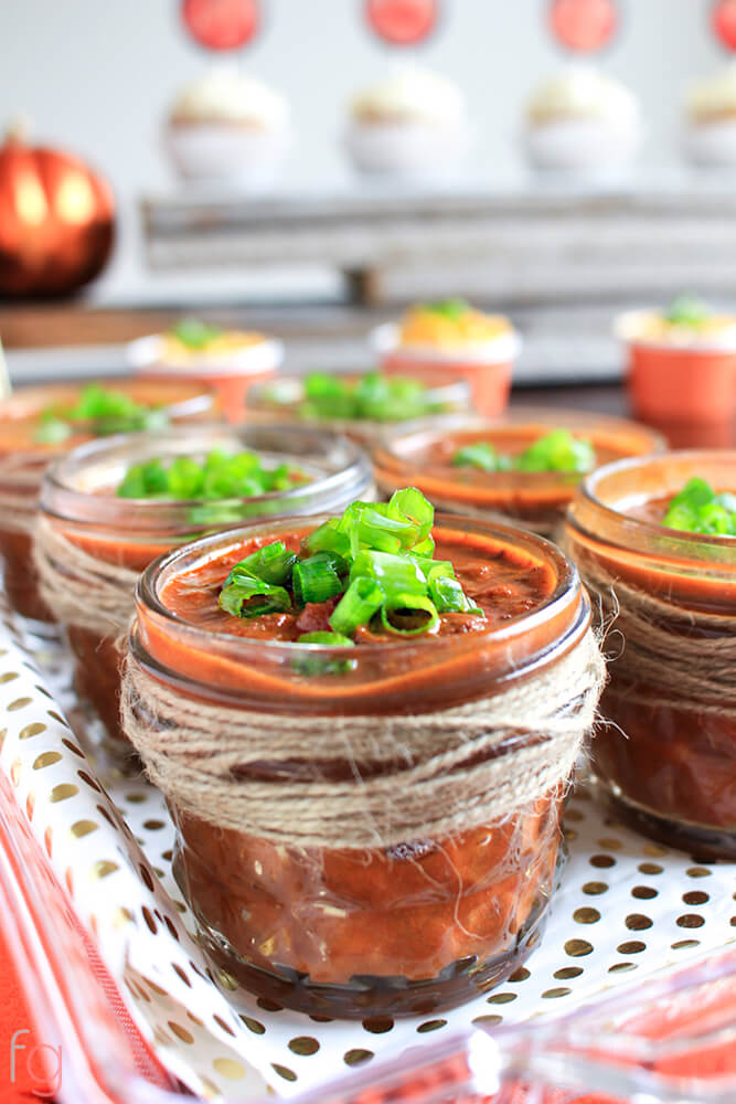 Chili in rustic mini mason jars wrapped in twine. 4 Tips for Inexpensive Party Decor + Free printables for fall inspired parties - printable cupcake toppers, food markers and fall art print.