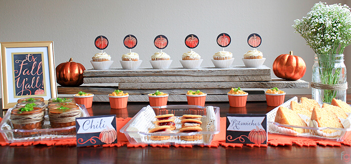 rustic fall party table decor with adorable food markers for the fall season