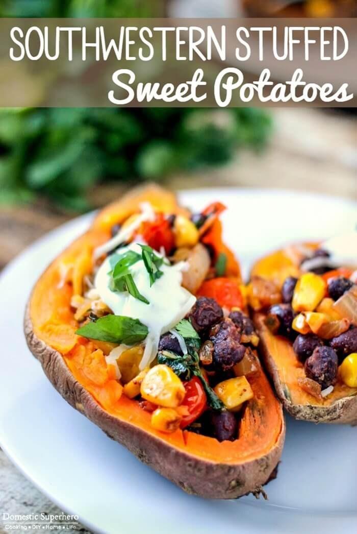 Southwestern Stuffed Sweet Potatoes by Domestic Superhero