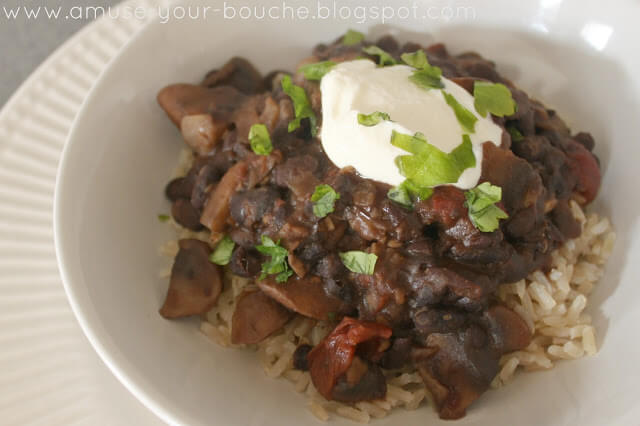 Mushroom and Black Bean Chili by Amuse Your Bouche