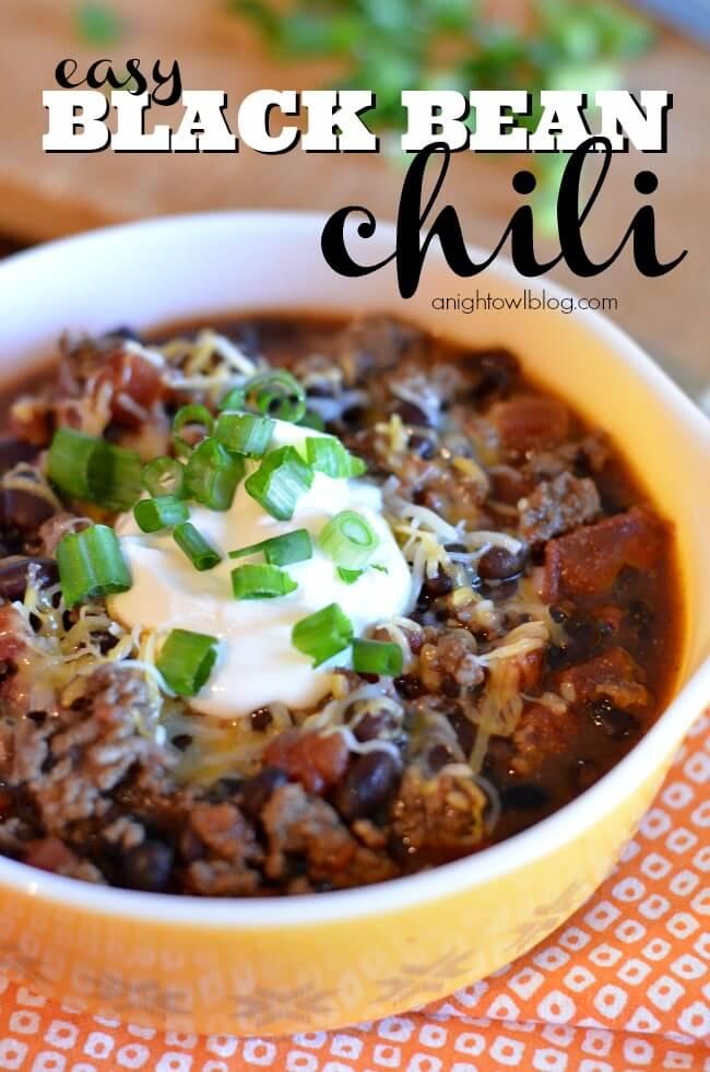 Easy Black Bean Chili by A Night Owl Blog