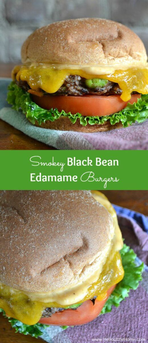 Smokey Black Bean Edamame Burgers by Hello Little Home