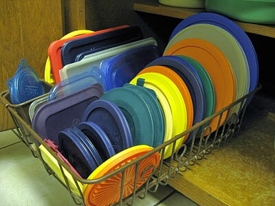 Dish Rack Lid Organizer by As the Card Rack Turns