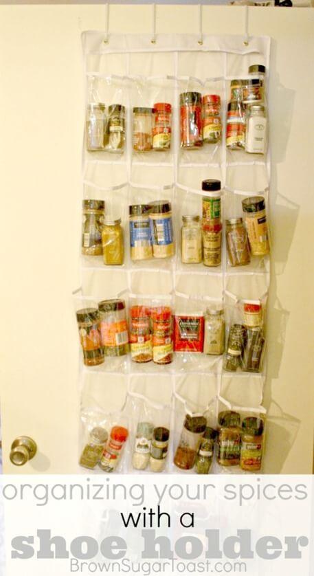 Shoeholder Spice Organization by The Frugal Homemaker
