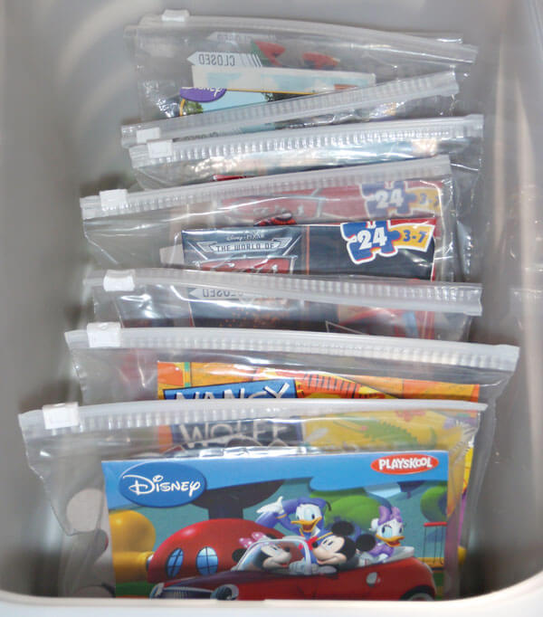 Ziploc Bag Puzzle Storage by From the Fence Post