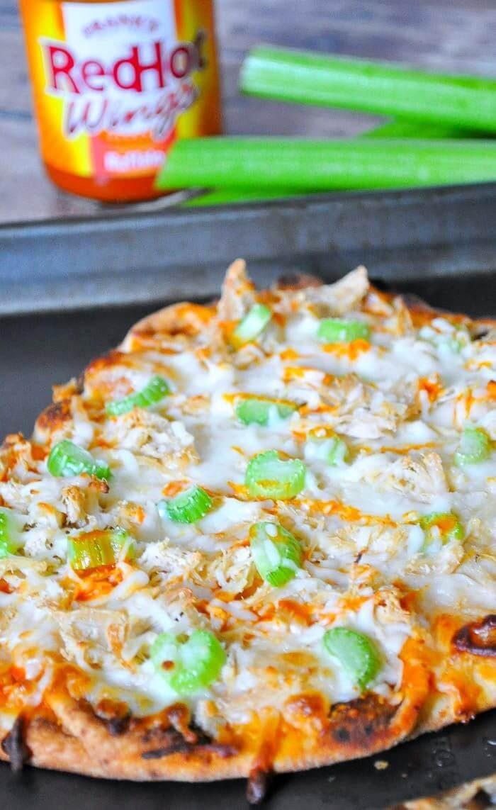 The Love Nerds - Buffalo Chicken Flatbread Pizza