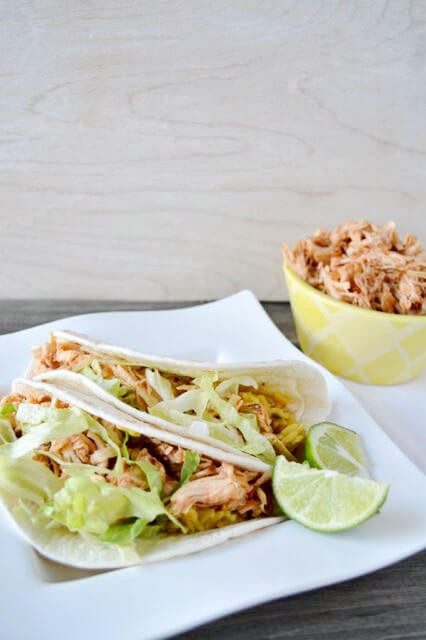 Crockpot Salsa Chicken Tacos by Our Thrifty Ideas