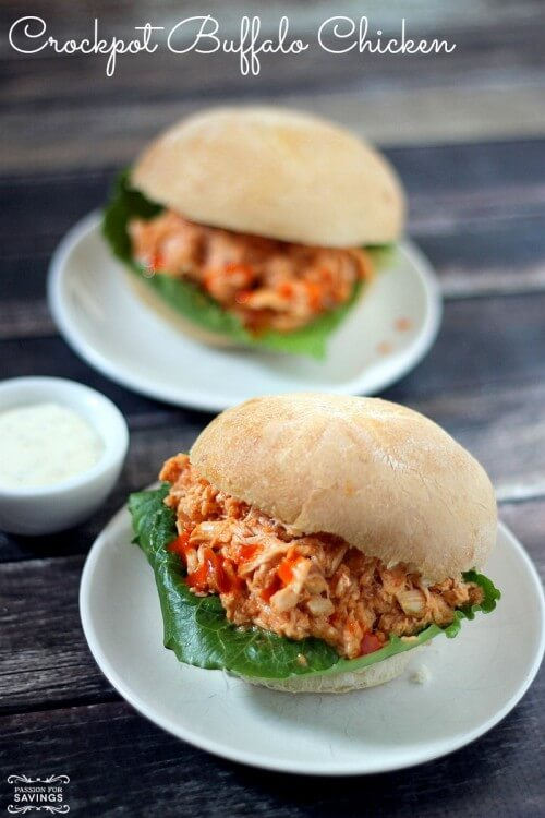 Slow Cooker Shredded Buffalo Chicken Sandwiches by Passion For Savings