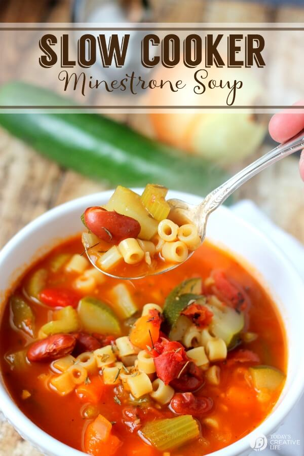 Slow Cooker Minestrone Soup by Today's Creative Life