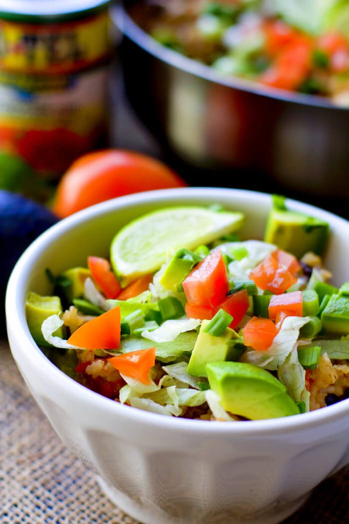 One Pot Chicken Burrito Bowls by Food Folks and Fun