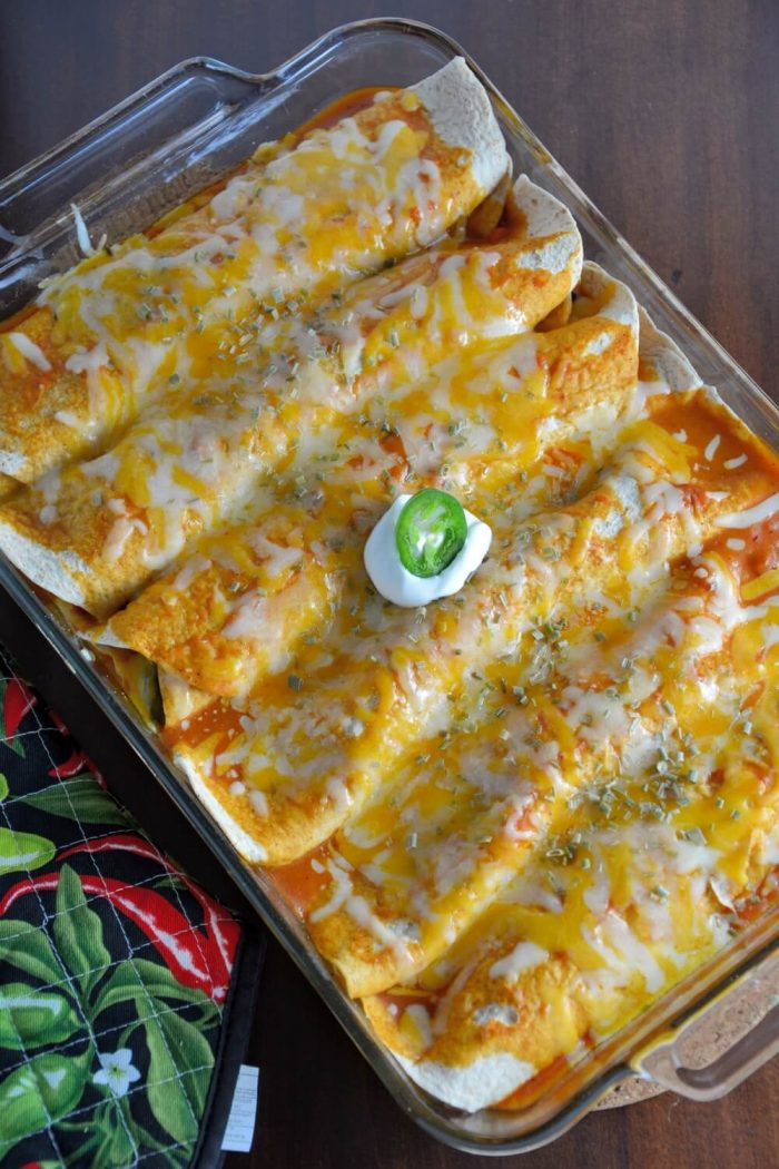 Spinach, Black Bean and Chicken Enchiladas via Savory Experiments