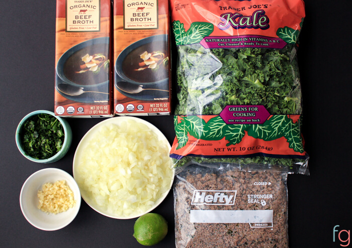 This beef and kale soup recipe is an easy 30 minute dinner idea! Great to serve in the fall or winter for an easy weeknight dinner, or when it's a bit chilly out!