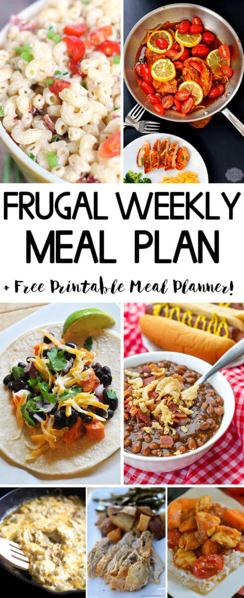 Frugal Weekly Meal Plan - 7 Tasty Meal Ideas to inspire your meal planning!