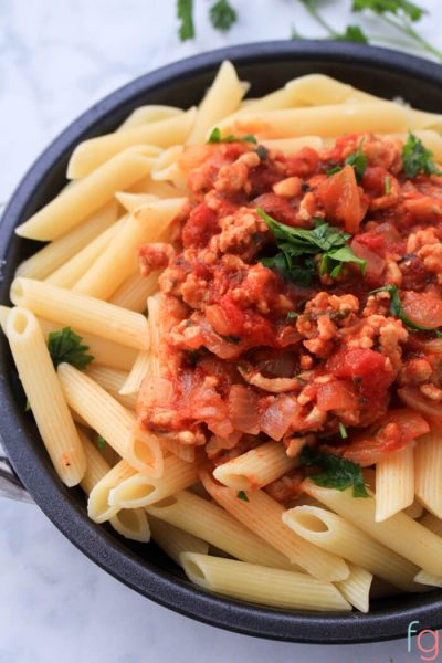 Pasta with Meat Sauce Recipe - an easy 30 minute dinner for a weeknight meal!