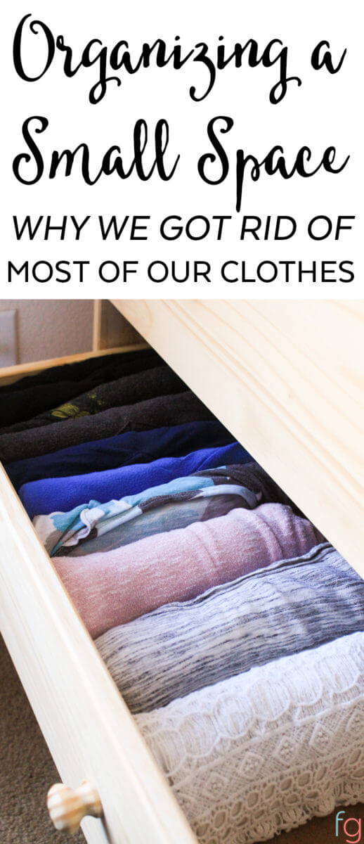 When organizing small spaces, getting rid of things that aren't being used often can free up more space than you may think! Here's our no closet solution and how we're making it work.