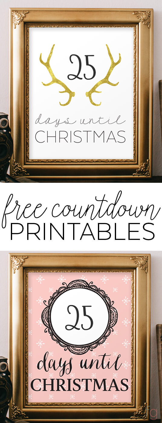 Free Christmas Countdown Printable. Print, frame, and write in the days left until Christmas each morning. Cute idea for the kids!