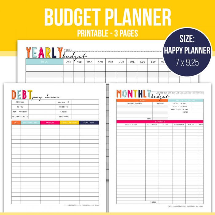 I love this cheery Printable Budget Planner from Fit Life Creative.