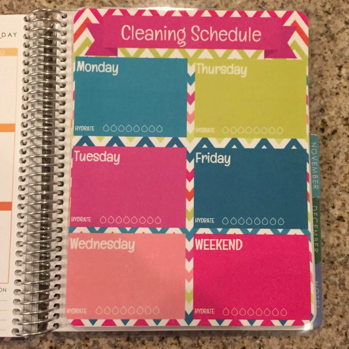 This clip-in Laminated Cleaning Schedule Dashboard from The Sassy Planner is an easy way to add more function to your existing planner.