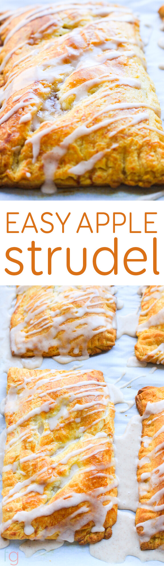 Easy Apple Strudel With Cinnamon Icing {WW 8 Points, Vegetarian}